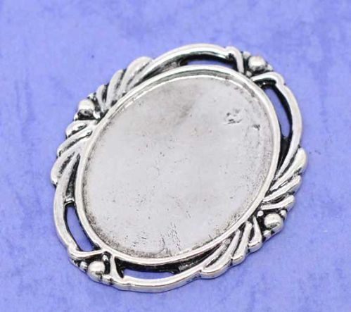 3 Silver Oval Frame Cameo Settings 40x32mm, (Fit 29.5x21mm